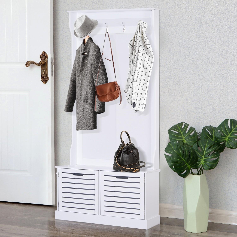 HOMCOM® Kleiderständer mit Sitzbank und Kleiderhaken   Garderobe   Kunststoff   80 x 40 x 180 cm   Weiss