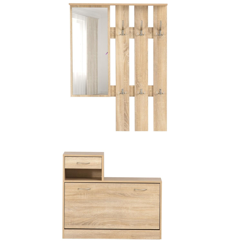 HOMCOM® 3-in-1 Garderobenset Flurgaderobe mit Schuhschrank Garderobe Wandspiegel