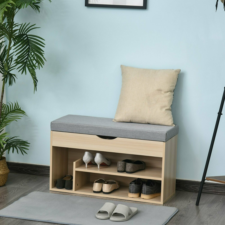HOMCOM® Schuhbank Sitzbank Sitztruhe 2-in-1 Design mit Schuhregal Verstecktfach