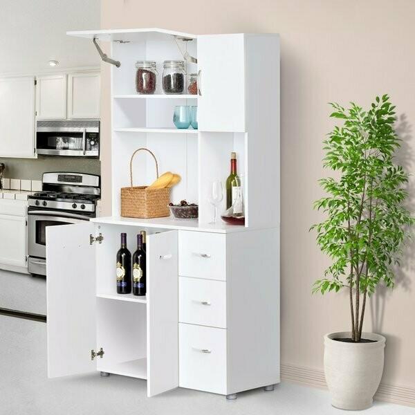 HOMCOM® Schrank Kommode Küchenschrank mit 4 Türschränke 1 Verstellebarregal 3 Schubladen