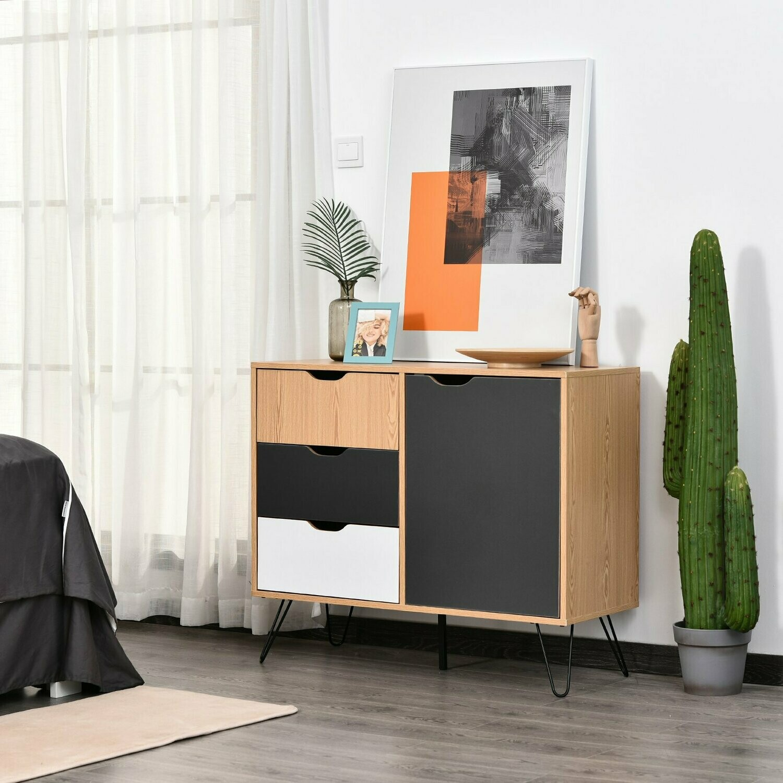 HOMCOM® Sideboard Kommode Beistellschrank im skandinavischen Design viel Stauraum Natur