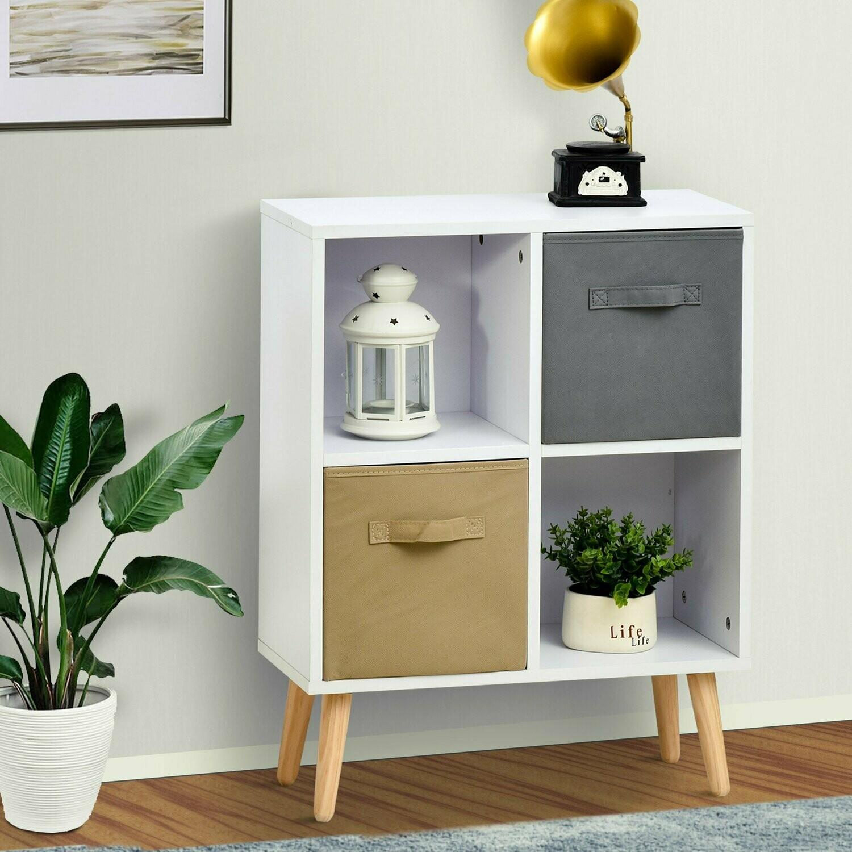 HOMCOM® Schrank Kommode Küchenschrank Würfelregal mit 2 Ablagefächer 2 Stoffschubladen