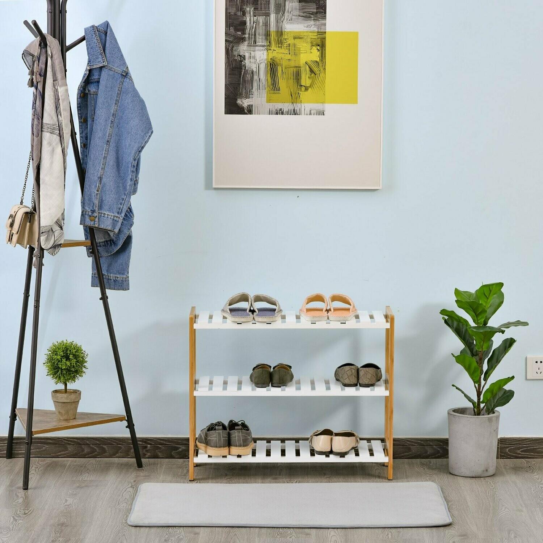 HOMCOM® Schuhregal aus Kiefer Schuhablage mit 3 Ablagen Schuhständer Schuhschrank Weiss