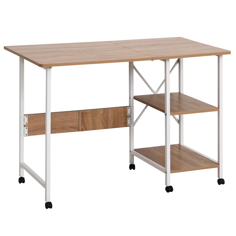 HOMCOM® Klapptisch Tisch Schreibtisch Bürotisch mit Rollen Computertisch Mobil MDF Natur