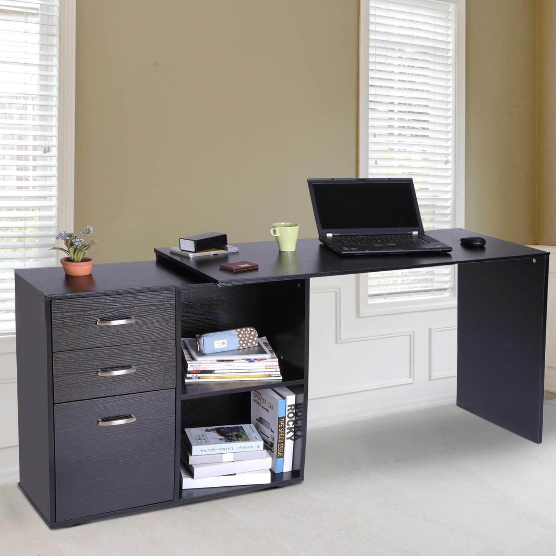 HOMCOM® Computertisch 117 x 83,5 x 76 cm Metall MDF Schwarz