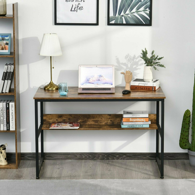 HOMCOM® Schreibtisch Computertisch Bürotisch mit Regal Metall Braun
