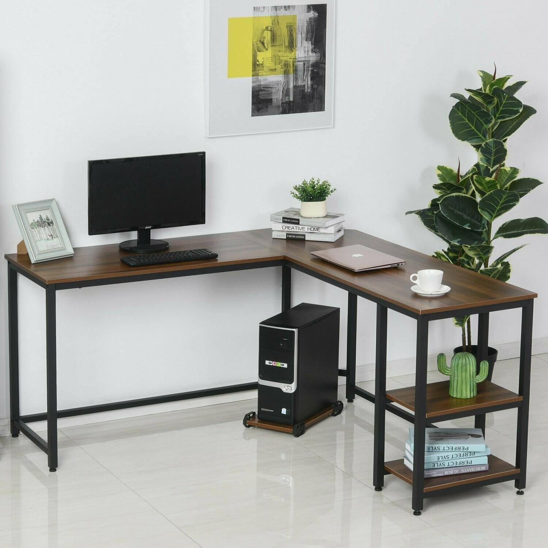 HOMCOM® Computertisch L-förmiger Eckschreibtisch Schreibtisch MDF+Stahl 150x150x76cm