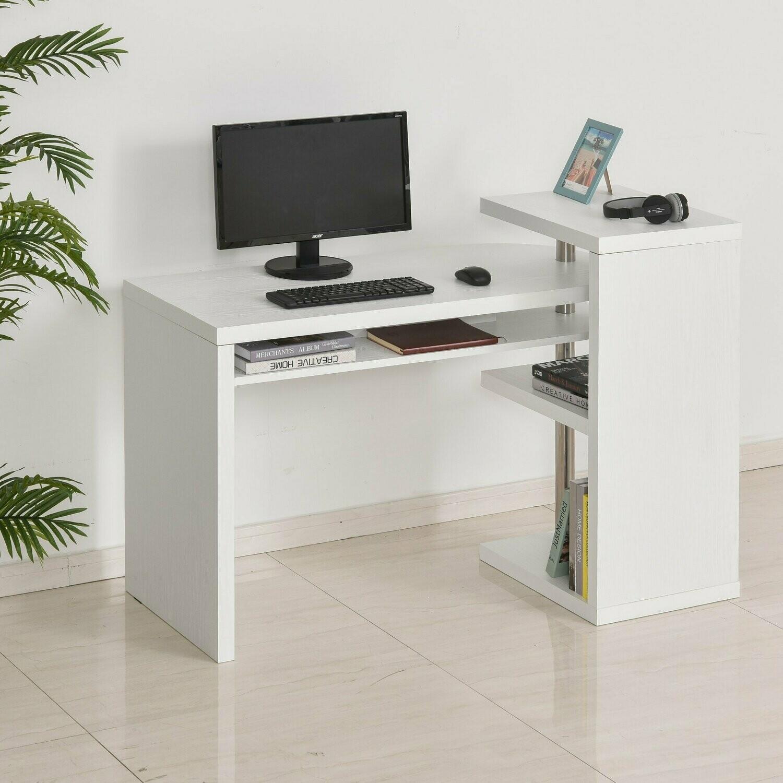 HOMCOM® Eckschreibtisch Computertisch PC-Schreibtisch mit Regal Bürotisch L/I-Form Weiss