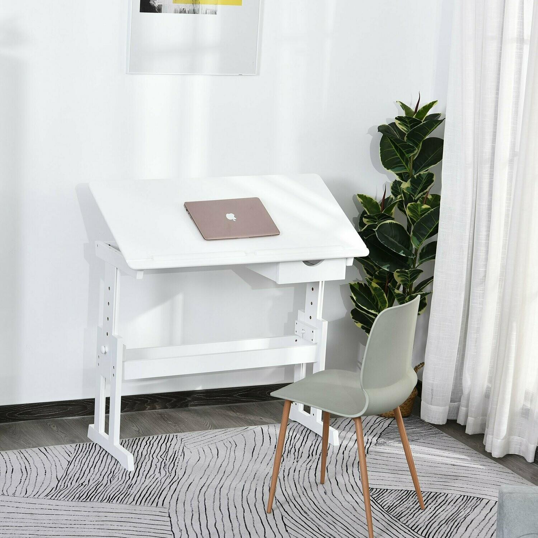 HOMCOM® Studiertisch Schreibtisch Laptoptisch Zeichentisch Schulbank Höhenverstellbar mit Schublade MDF Weisas
