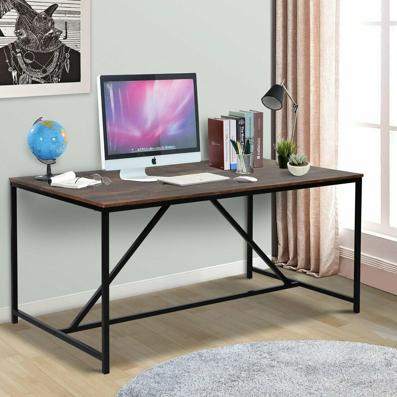 HOMCOM® Schreibtisch im Industrie-Design   Computertisch   Spanplatte Metall   Braun   60,5 x 90 x 76,5 cm