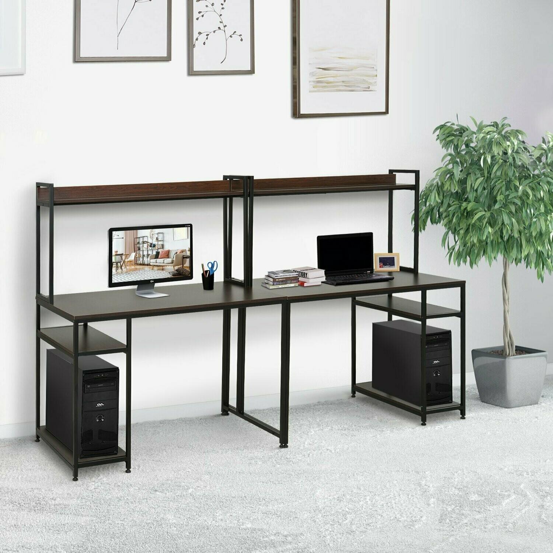 HOMCOM® Computertisch mit Regal Schreibtisch Arbeitstisch Laptoptisch Schwarz 240x60x135cm
