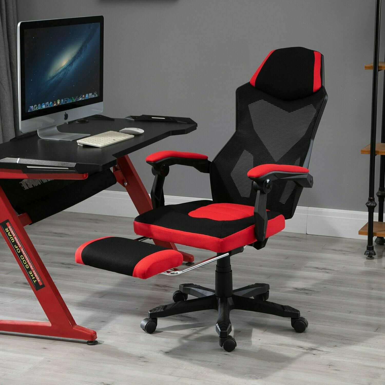 Vinsetto® Drehstuhl Gaming Fussstütze 58 x 72 x 108-118 cm Schwarz Rot