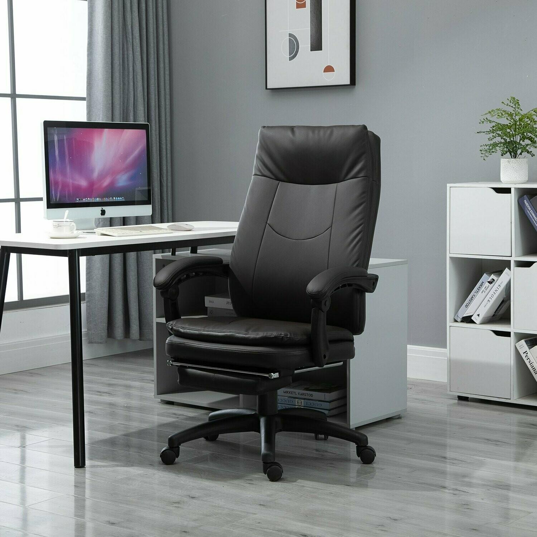 Vinsetto® Bürostuhl Chefsessel gepolsterte Rückenlehne Fussstütze Sitzhöhe 53-47 cm Braun
