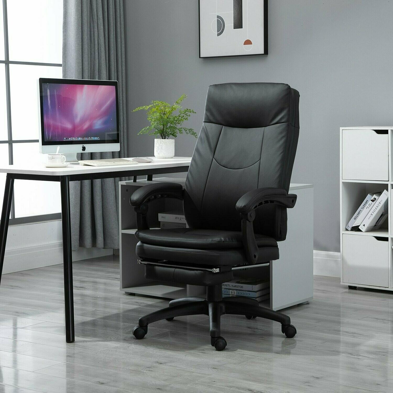 Vinsetto® Bürostuhl Chefsessel gepolsterte Rückenlehne Fussstütze Sitzhöhe 53-47 cm schwarz