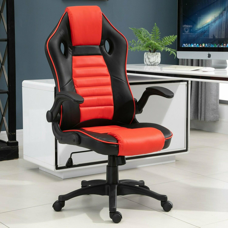 Vinsetto® Gamingsessel Gamingstuhl verstellbare Armlehne Rot Schwarz