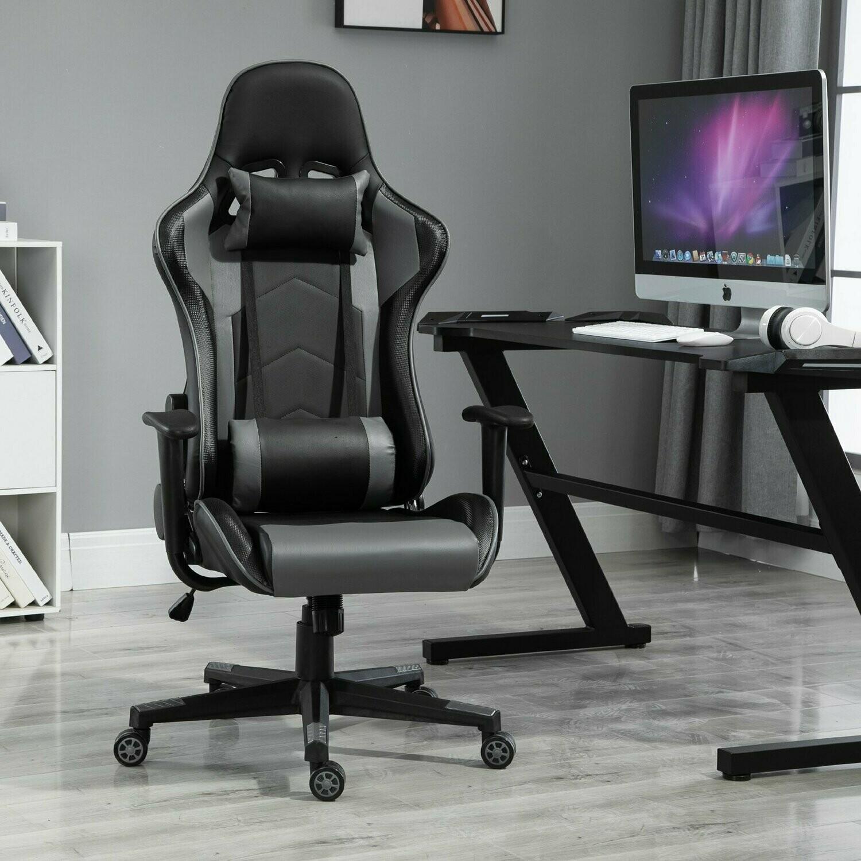Vinsetto® Gamingsessel Gamingstuhl Kopfstütze Sitzhöhe 45-55 cm Schwarz