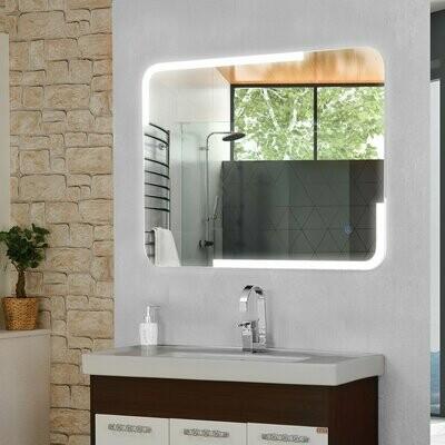 kleankin® Badezimmerspiegel Wandspiegel LED Touch Badspiegel mit Beleuchtung Kaltweiss