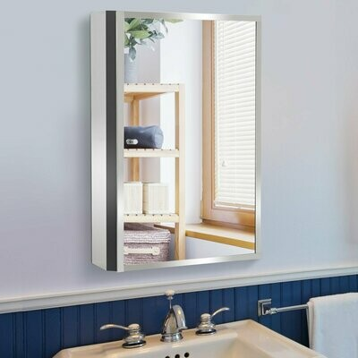 HOMCOM® Badschrank Hängeschrank Wandschrank Badmöbel Spiegelschrank Edelstahl Silber