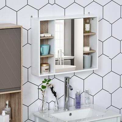 HOMCOM® Badmöbel Spiegelschrank Badschrank Hängeschrank Wandschrank Mehrzweckschrank
