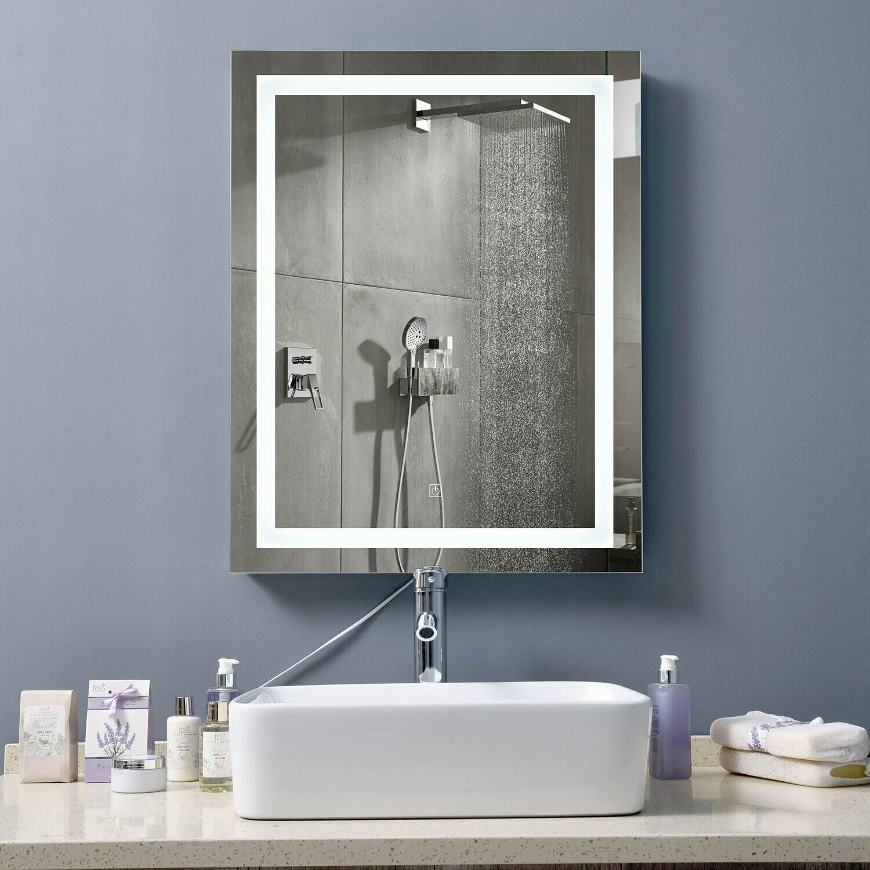 kleankin® Badezimmer Spiegel mit LED Beleuchtung Aluminium Glas Stahl Weiss, Silber