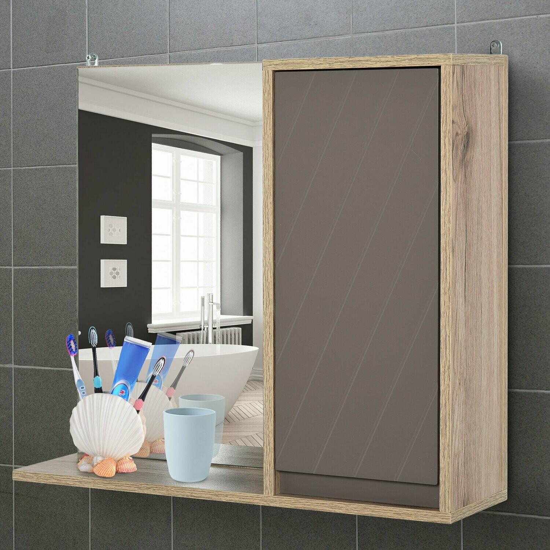 HOMCOM® Badmöbel Spiegelschrank Badschrank Wandschrank Hängeschrank Mehrzweckschrank