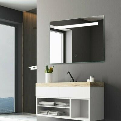 kleankin® LED-Spiegel Wandspiegel Badspiegel Nebelfrei Touch-Schalter Alu 70 x 50 cm