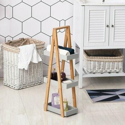 kleankin® Badregal 3 Ebenen Treppenregal Leiterregal Badezimmer Bambus Grau