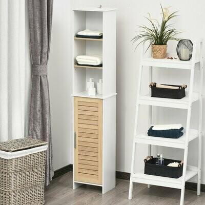 kleankin® Badezimmerregal Badeschrank Küchenschrank mit Schrank 3 Regale Natur+Weiss