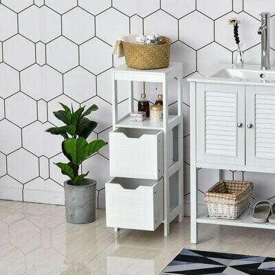 kleankin® Badezimmerregal Badeschrank mit 2 Schubladen obere Regal MDF-Platte Weiss