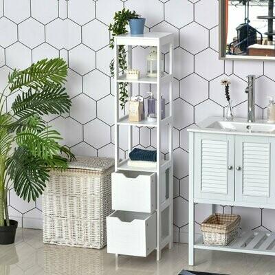 kleankin® Badezimmerregal Badeschrank Küchenschrank mit 1 Schränke 3 offene Regale MDF