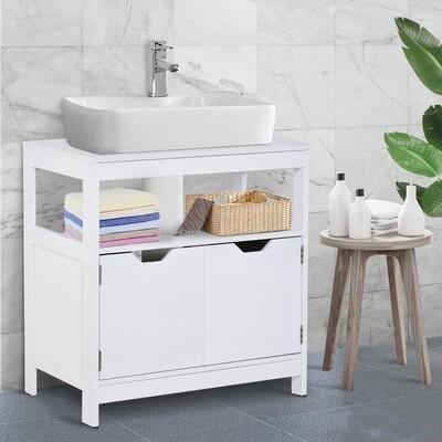 kleankin® Waschbeckenunterschrank moderner Badschrank mit Doppeltür Unterschrank Weiss