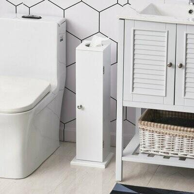 HOMCOM 3 Stufen Toilettenpapierhalter, Badezimmerschrank, MDF, Weiss