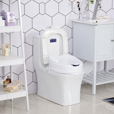 HOMCOM® Toilettensitzerhöhung Toilettenaufsatz mit Deckel für Senioren PP Weiss