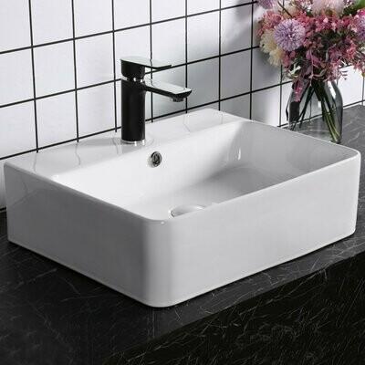 kleankin® Waschbecken Waschschale Waschtisch Lavabo Keramik 52 x 42 x 15,5 cm