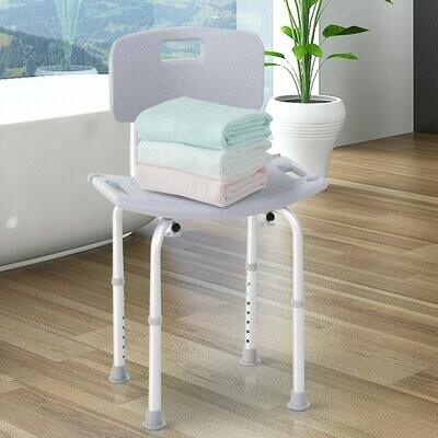HOMCOM® Duschstuhl Badehocker Badhilfe höhenverstellbar mit Rückenlehne