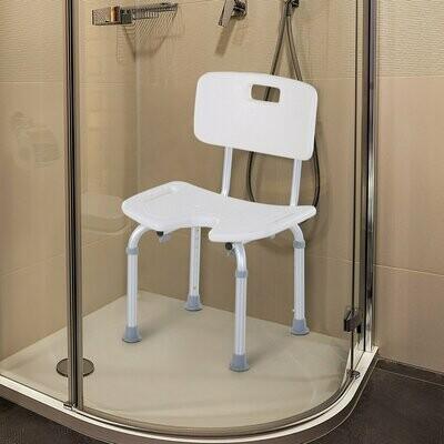 HOMCOM® Duschstuhl mit Rückenlehne Badestuhl Höhenverstellbar Rutschfest Alu-Legierung