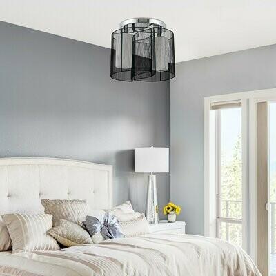 HOMCOM® Deckenlampe 2 x E27-Fassung Deckenleuchte 2 flammig Deckenlicht Lampe 40W Schwarz