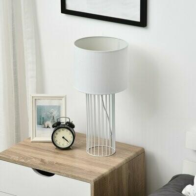 HOMCOM® Tischlampe mit E27 Fassung Tischleuchte Nachttischlampe Metall Weiss