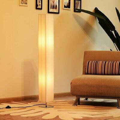 HOMCOM® Stehlampe Wohnzimmer E27 Edelstahl 120cm Weiss