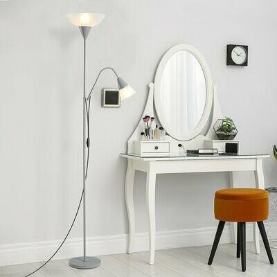 HOMCOM® Stehlampe Verstellbares Leselicht, Standleuchte Doppelköpfes Design Silber