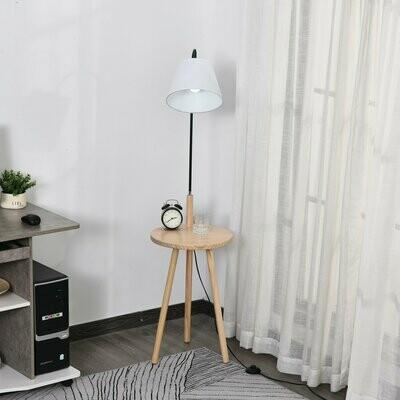 HOMCOM® Stehlampe für Wohnzimmer Standleuchte Bogenleuchte mit Holz Tisch Stahl Weiss