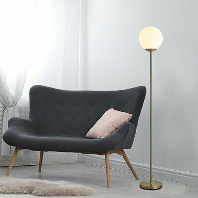 HOMCOM® Wohnzimmer Stehlampe Standleuchte Stehlampe Metall mit Glas Golden 25x25x171cm