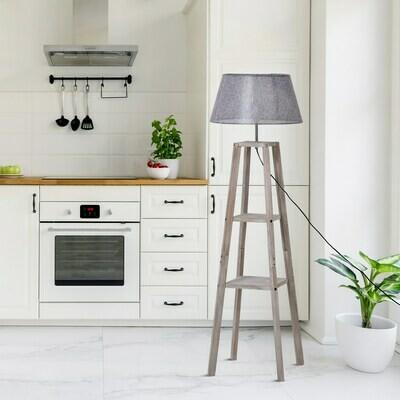 HOMCOM® Stehlampe mit Regal Standleuchte Skandinavische Lampe Kiefer Natur Grau