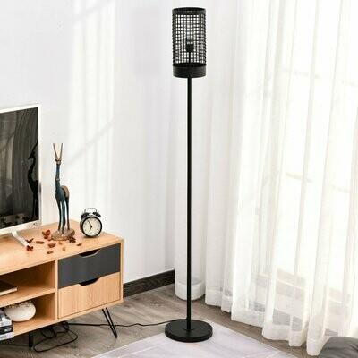 HOMCOM® Stehlampe für Wohnzimmer Standleuchte Stehlampe Metall Schwarz 23 x 23 x 156 cm