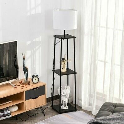 HOMCOM® Stehleuchte mit 3 Regalen Stehlampe Polyester Baumwolle Metall Schwarz