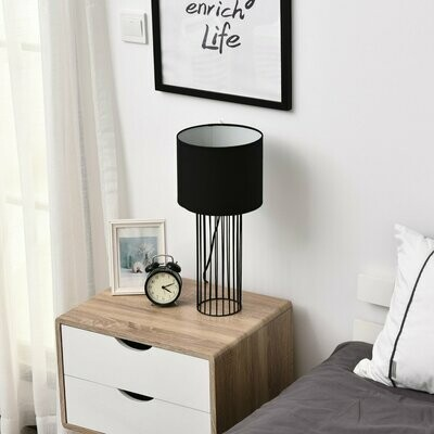 HOMCOM® Tischlampe mit E27 Fassung Tischleuchte Nachttischlampe Metall Schwar