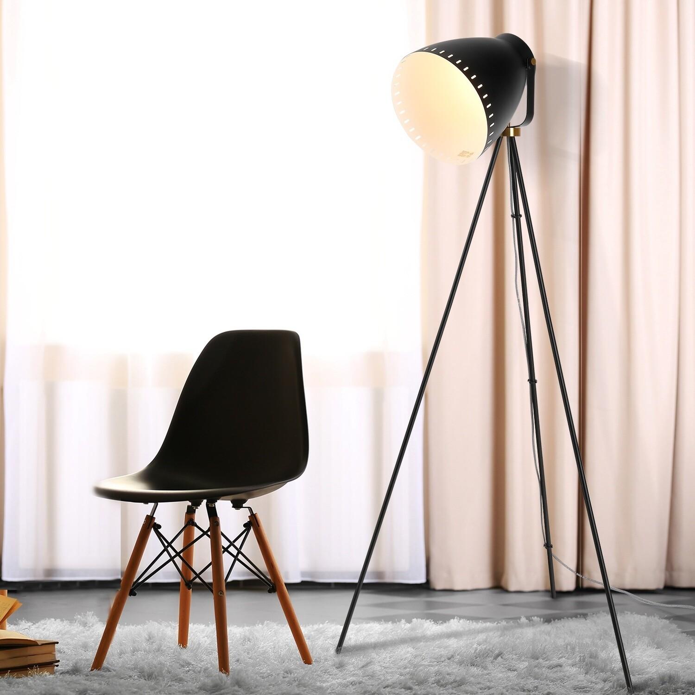 HOMCOM® Stehleuchte Stehlampe E27-Fassung neben Sofa 120° verstellbar Metall Schwarz 60 x 60 x 145 cm