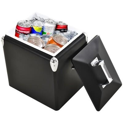 Outsunny® 30 L Kühlbox / Wärmebox zum Warmhalten und Kühlen 24h Weinkühler Camping Edelstahl Schwarz