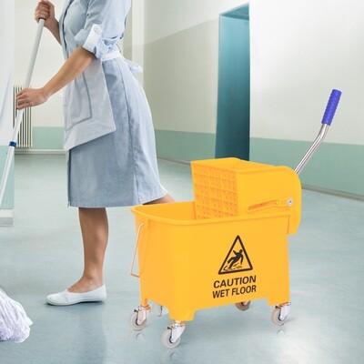 HOMCOM® Putzwagen Putzeimer mit Presse 20L Gelb