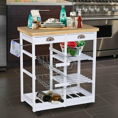 HOMCOM Küchenwagen Servierwagen mit Schubladen Weinablage rollbar aus Holz weiss